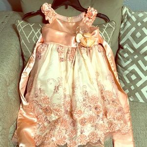 Peach color little girl dress , great for easter